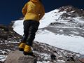 Y checking out the route in over oversized puffy gear....