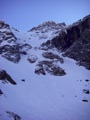 Our tracks in Ptarmigan Couloir