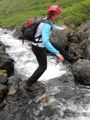 The obligatory Yvonne crossing the stream photo.