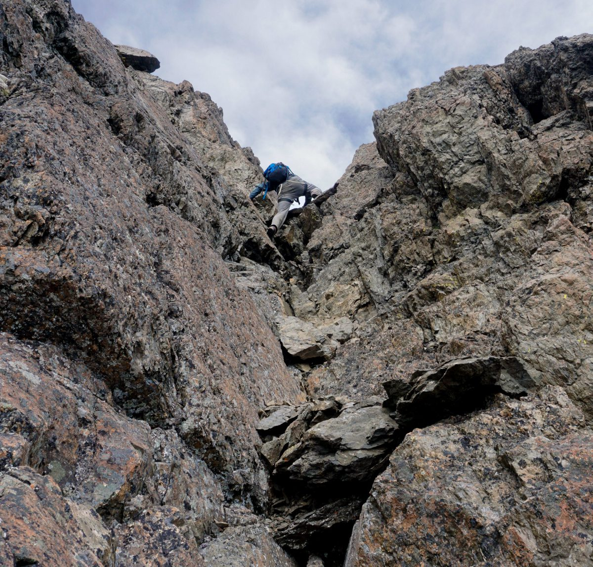 Exposed scrambling around 6500. Photo by Mike Meyers.