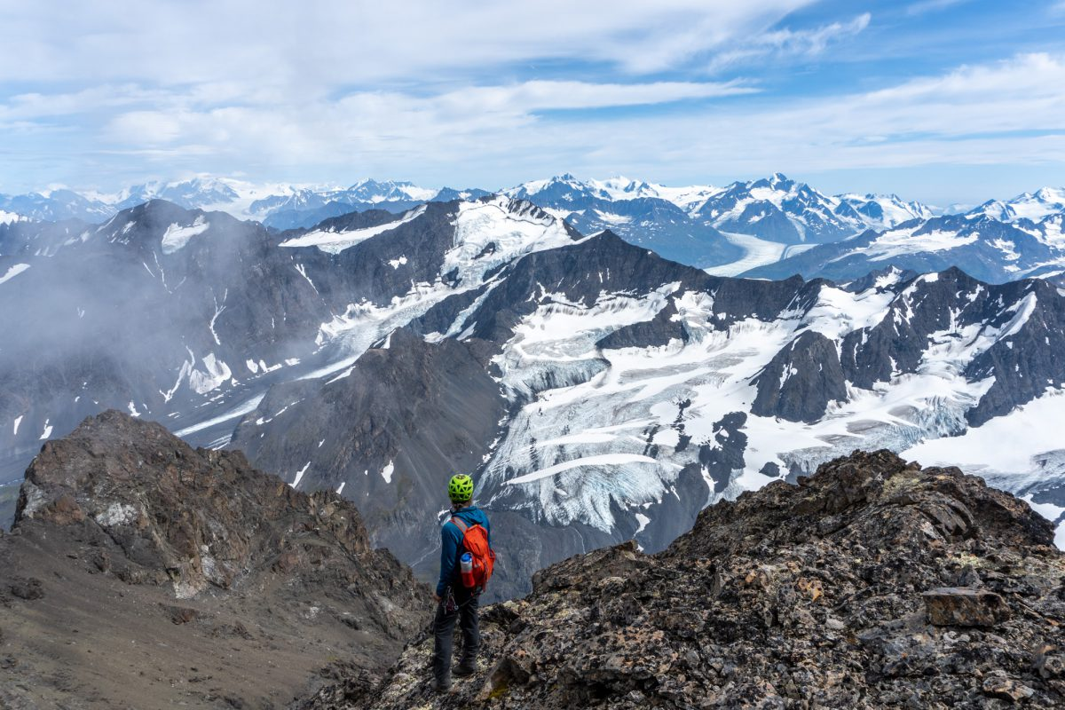 Looking east towards the big 7000 peaks of Hunter Glacier.
