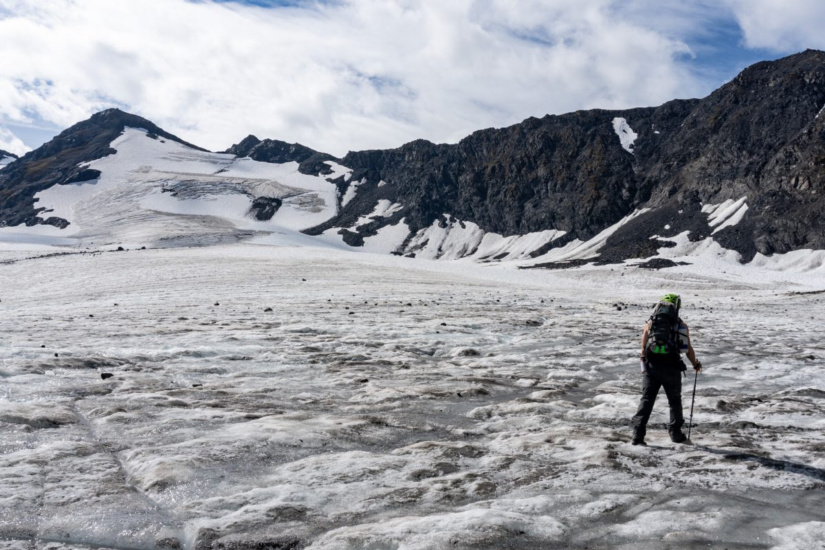 W Fork Hunter Glacier.  The pass is the low point in the snow.  Note the crevasses!