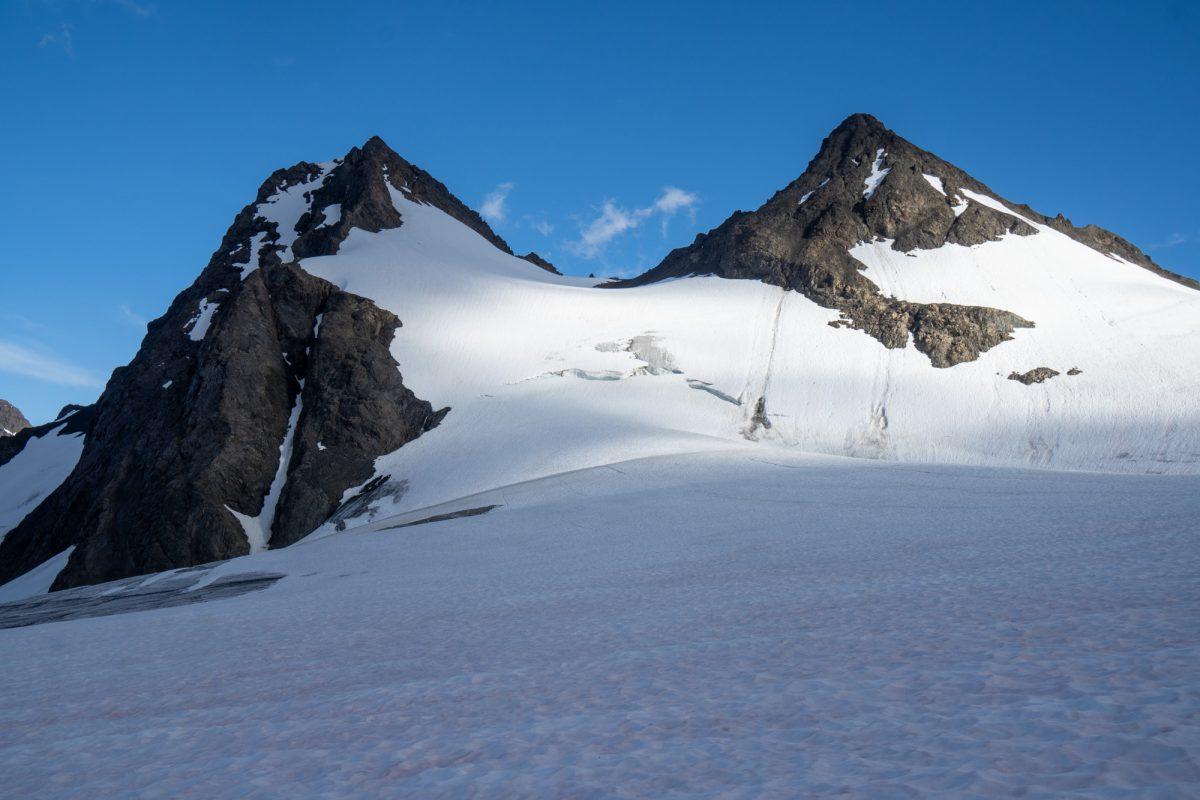 Northwest Glacier and West Ridge (left skyline). Photo July 2020 from the glacier below.