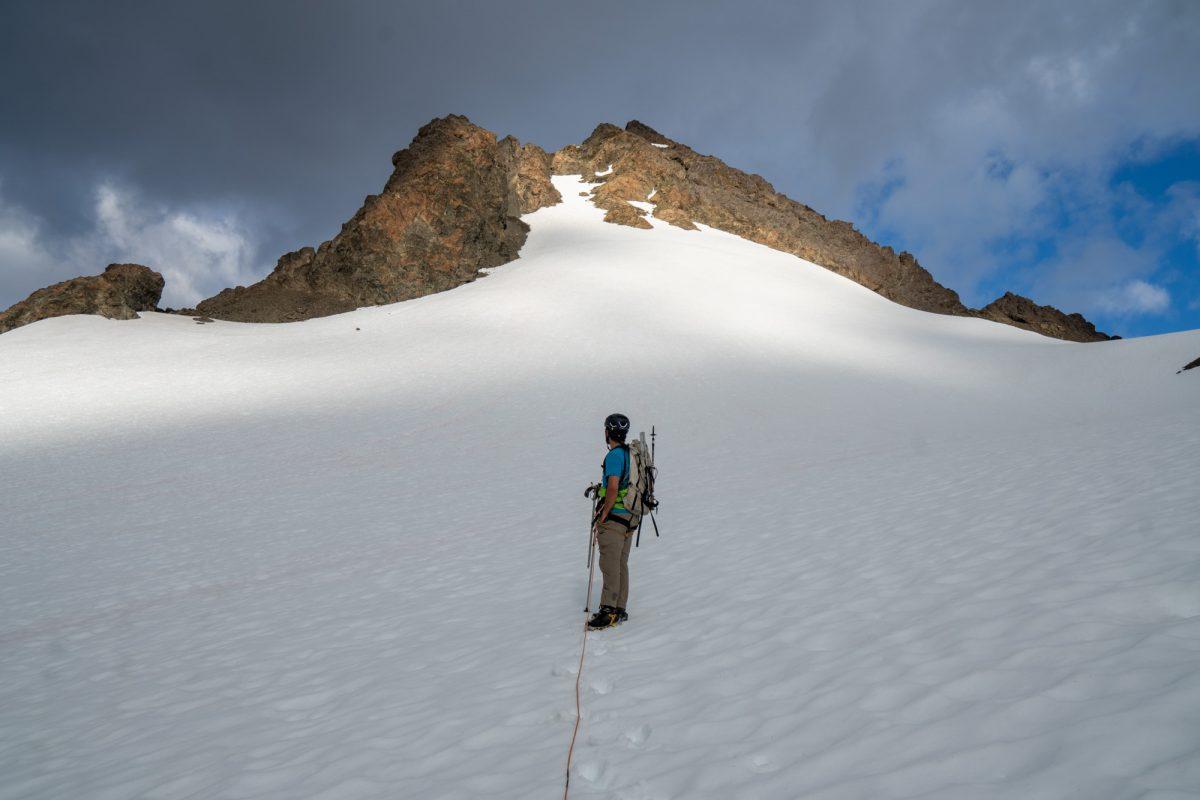 Above the bergschrund.