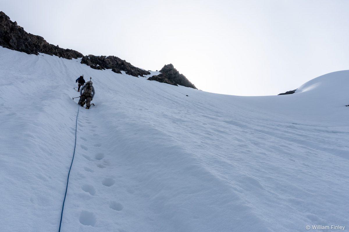Steep runnels above the bergschrund.