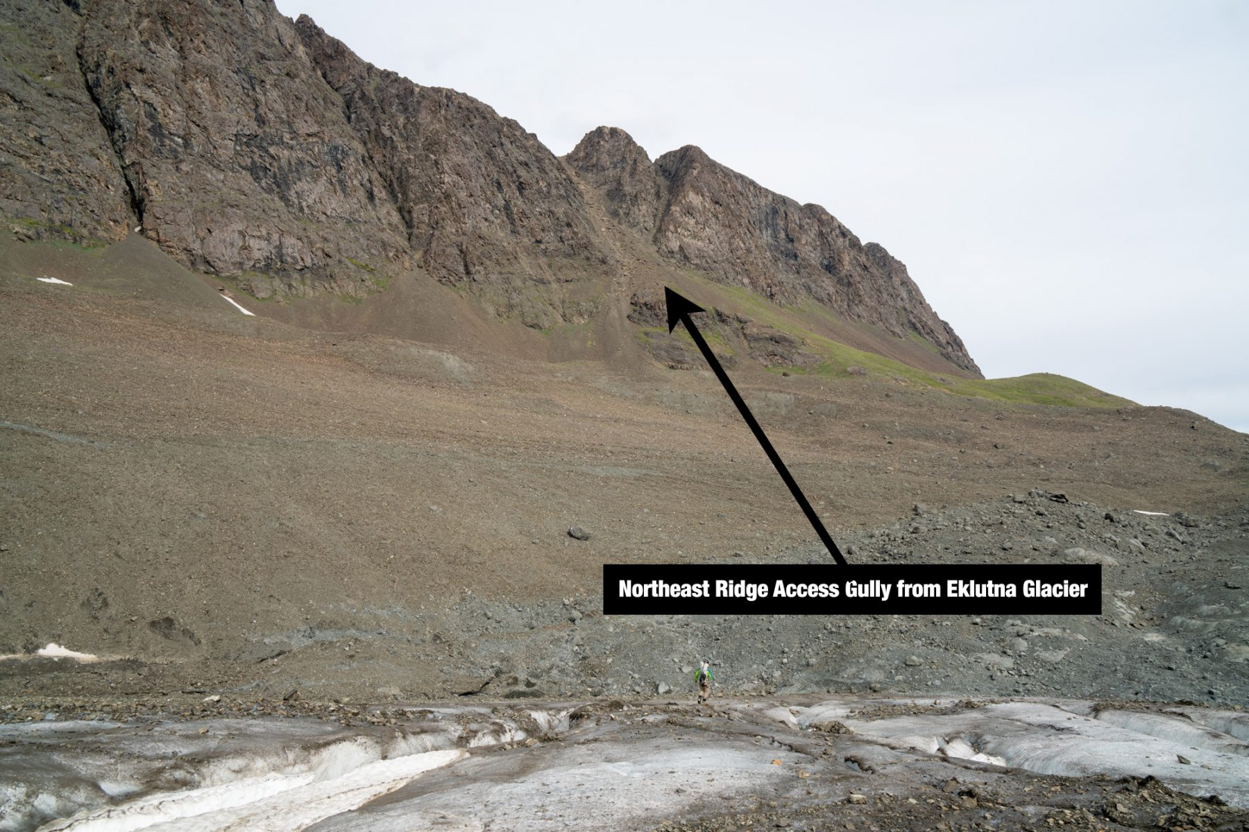 The east facing gully you take to gain the ridge from the Eklutna.  The other side is a moderate downclimb. (July 2020.)