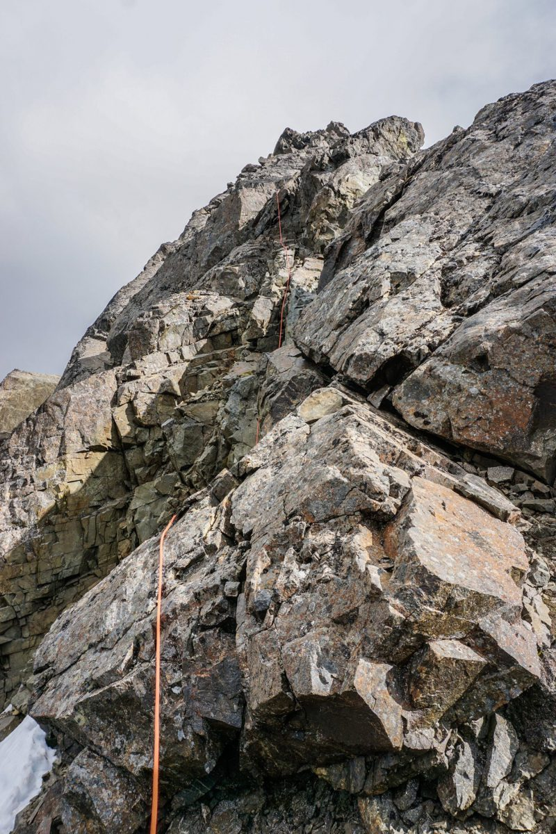 Crux of the NW Ridge. Photo by Mike Meyers; July 2020.