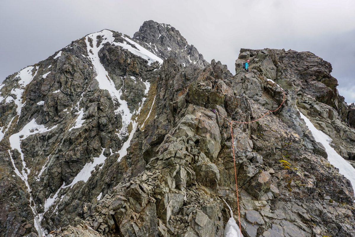 Alex Mccready on the NW Ridge. Photo by Mike Meyers; July 2020.